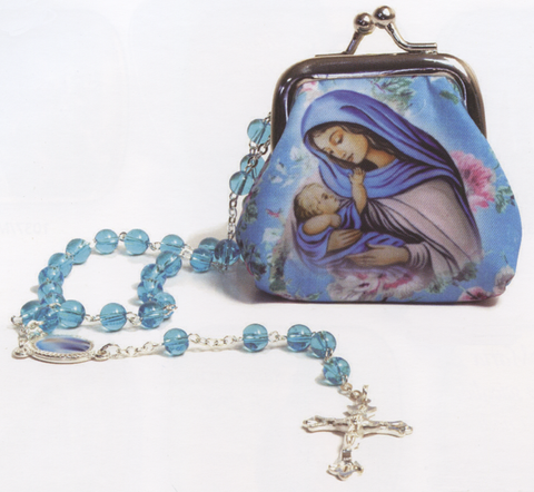 Mother and Child Rosary and Pouch - R71M0021