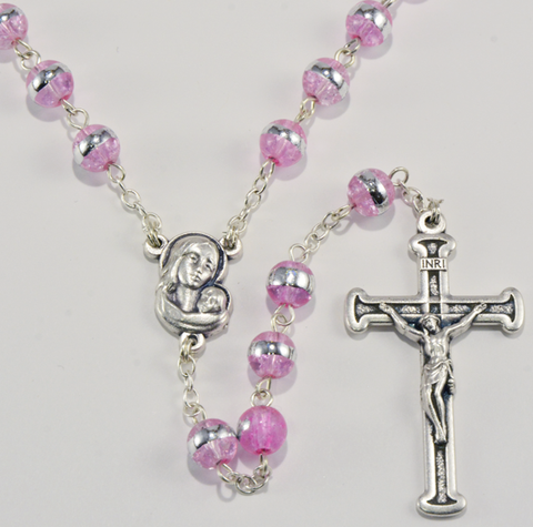 acrylic rosary pink round bead silver plated