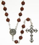 Wood rosary with carved beads - RW156T-2 Made in Italy