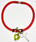 Red Silicon bracelet - genuine GREEN Venetian Murano glass Heart