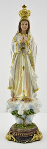 "Statue Madonna of Fatima colored . height 30 cm, 12"" . Made in China"