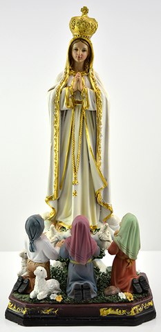 "Statue Madonna of Fatima with Children colored . height 30 cm, 12"" . Made in China"