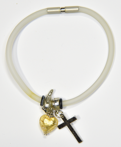 White Silicon bracelet - genuine GOLD LEAF Venetian Murano glass Heart