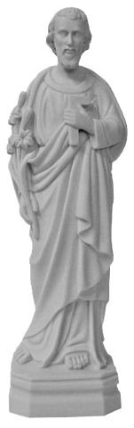 "St. Joseph the Worker white composite marble statue 40cm - 16""- SFC633"