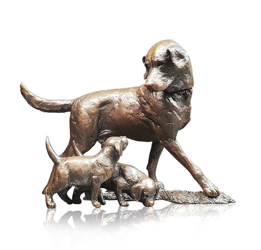 bronze sculpture labrador mother with two labrador puppies