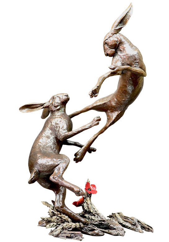 hares boxing in field of corn and poppies hand painted bronze sculpture