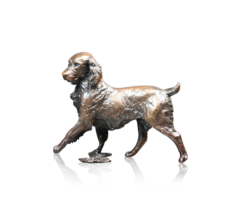 Springer spaniel walking bronze sculpture