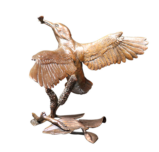 kingfisher with catch bronze sculpture