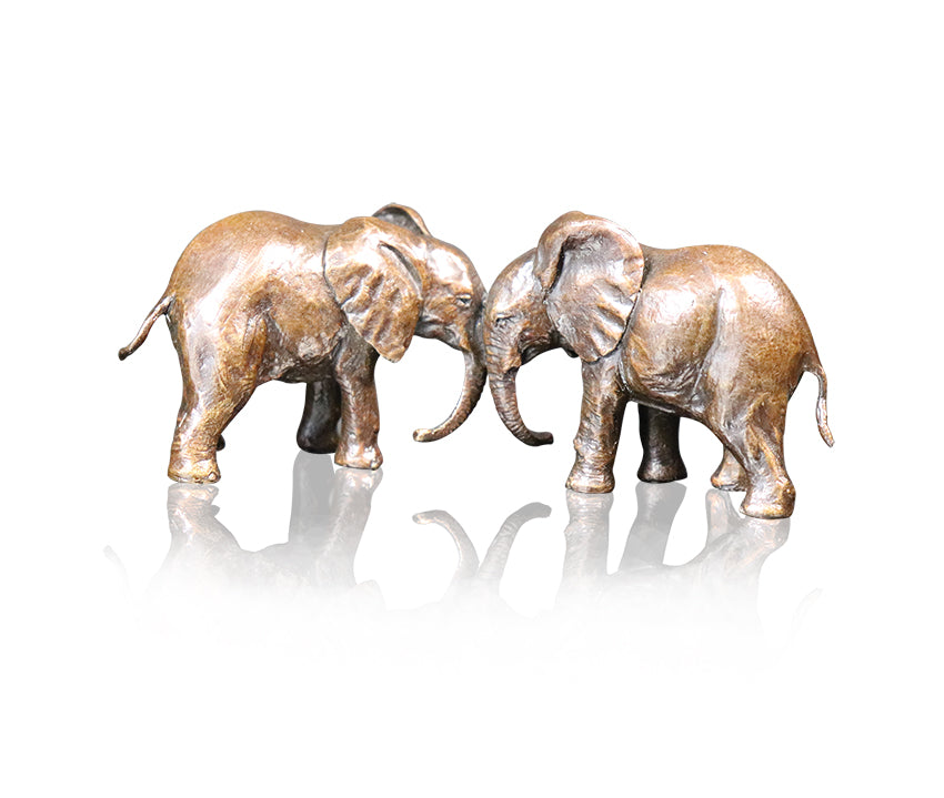 Baby Elephants Playing Bronze Sculpture Michael Simpson Limited Edition