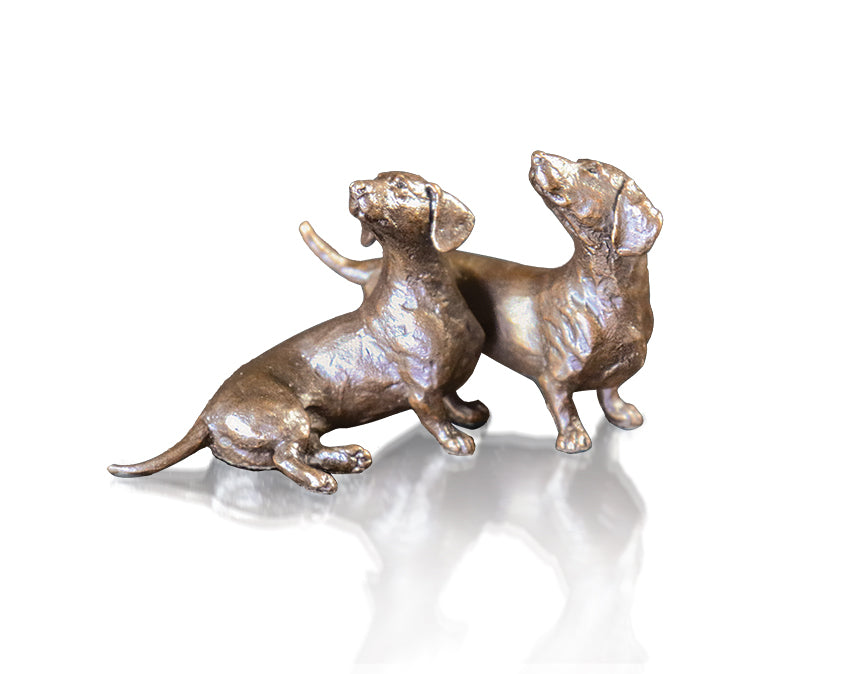 bronze sculpture pair of dachshund dogs pets