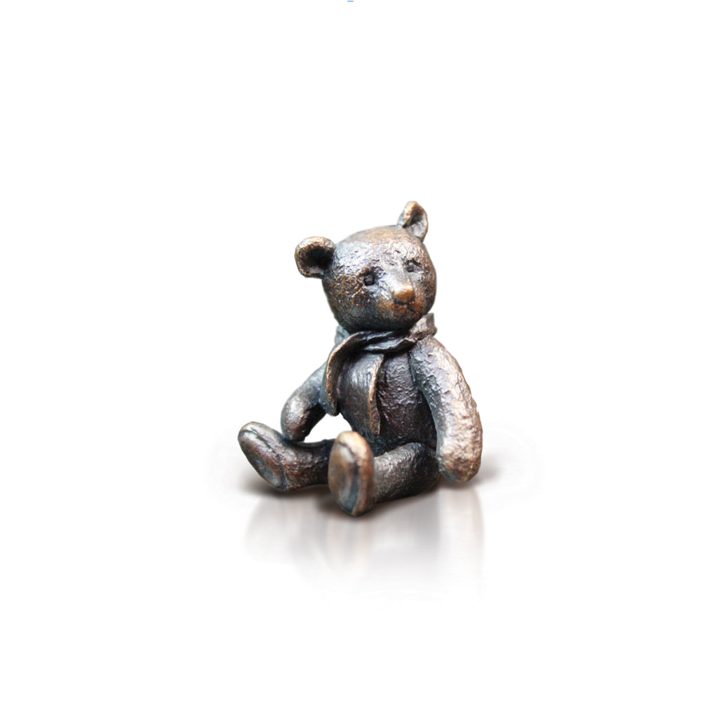 bronze bear with scarf sculpture