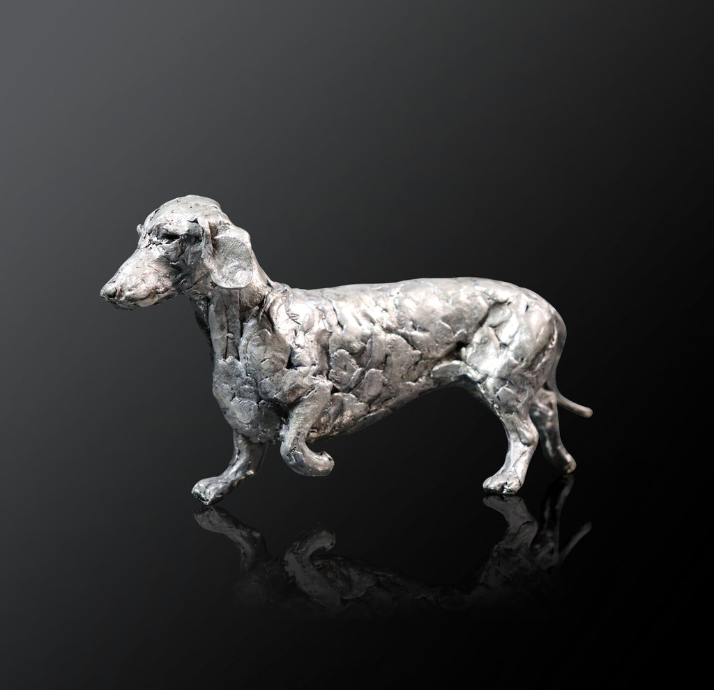 dachshund dog standing nickel gift sculpture