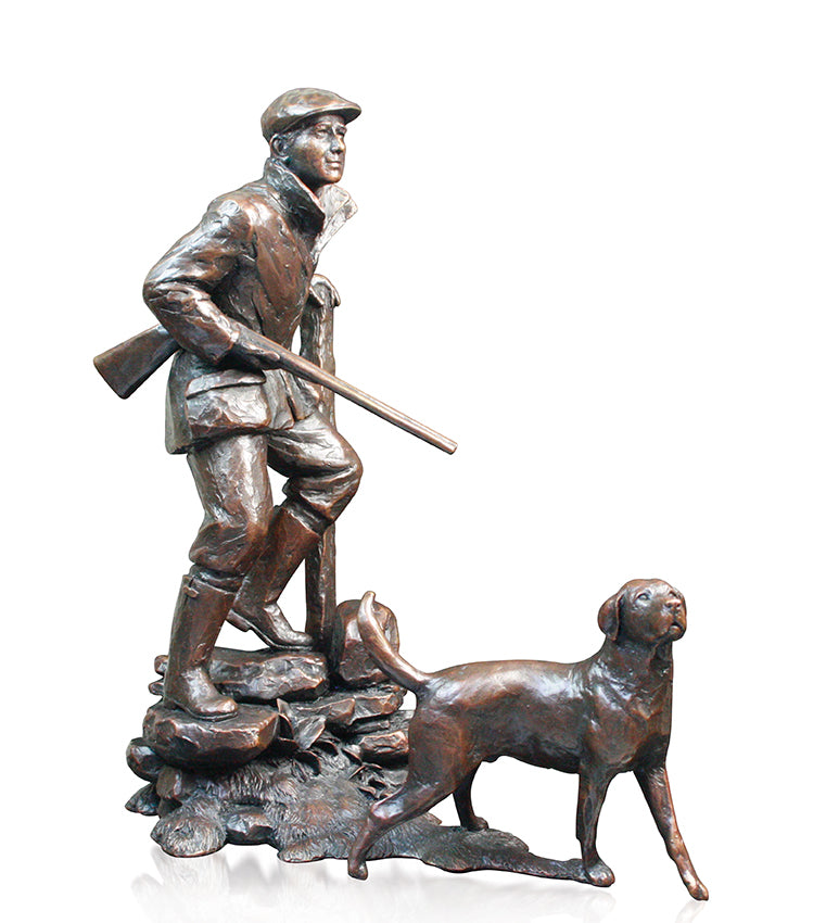 shooting country pursuits labrador bronze sculpture michael simpson limited edition