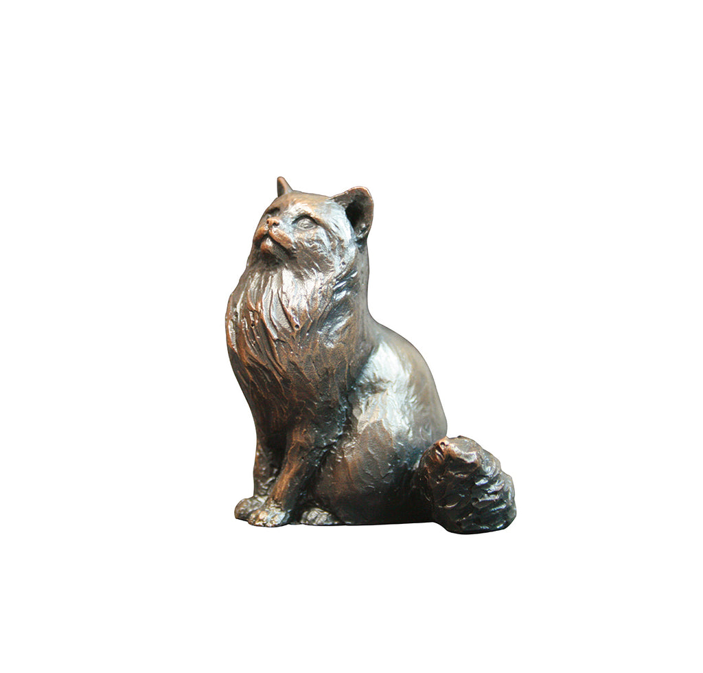 bronze sculpture long haired cat sitting