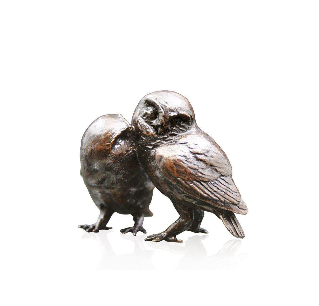 Bronze Pair of Little Owls Sculpture