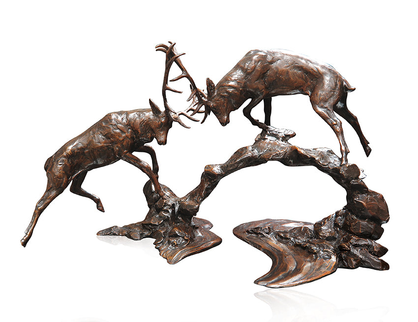bronze rutting stags sculpture michael simpson limited edition