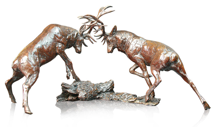 highland red stags rutting bronze sculpture