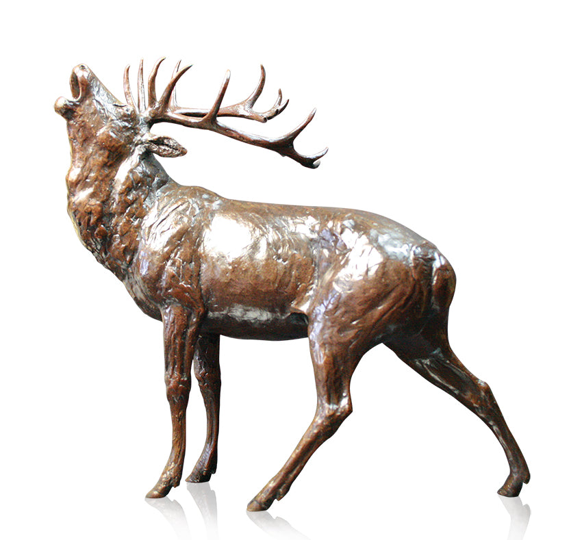 highland red stag roaring bellowing bronze sculpture
