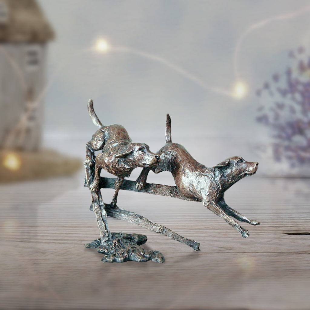 miniature bronze labradors gift sculpture butler and peach