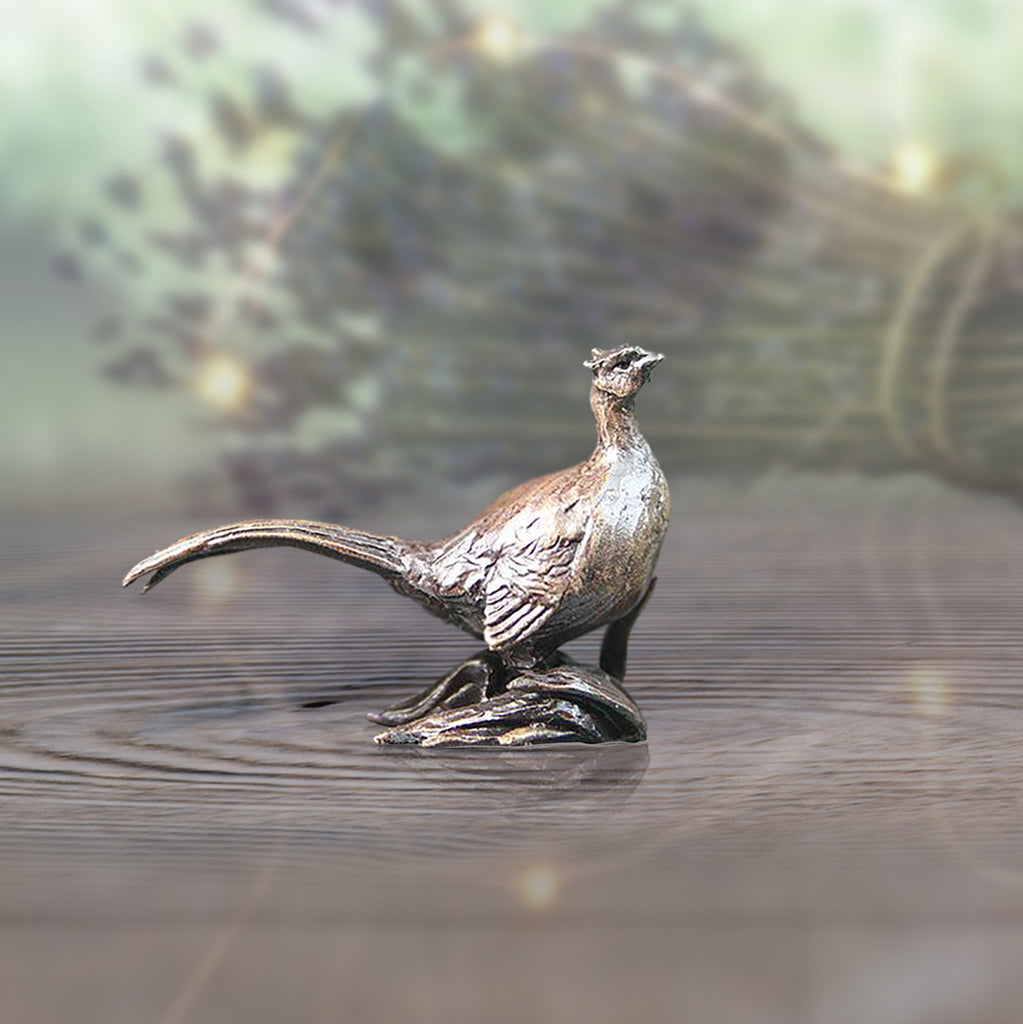 miniature bronze pheasant gift sculpture butler and peach