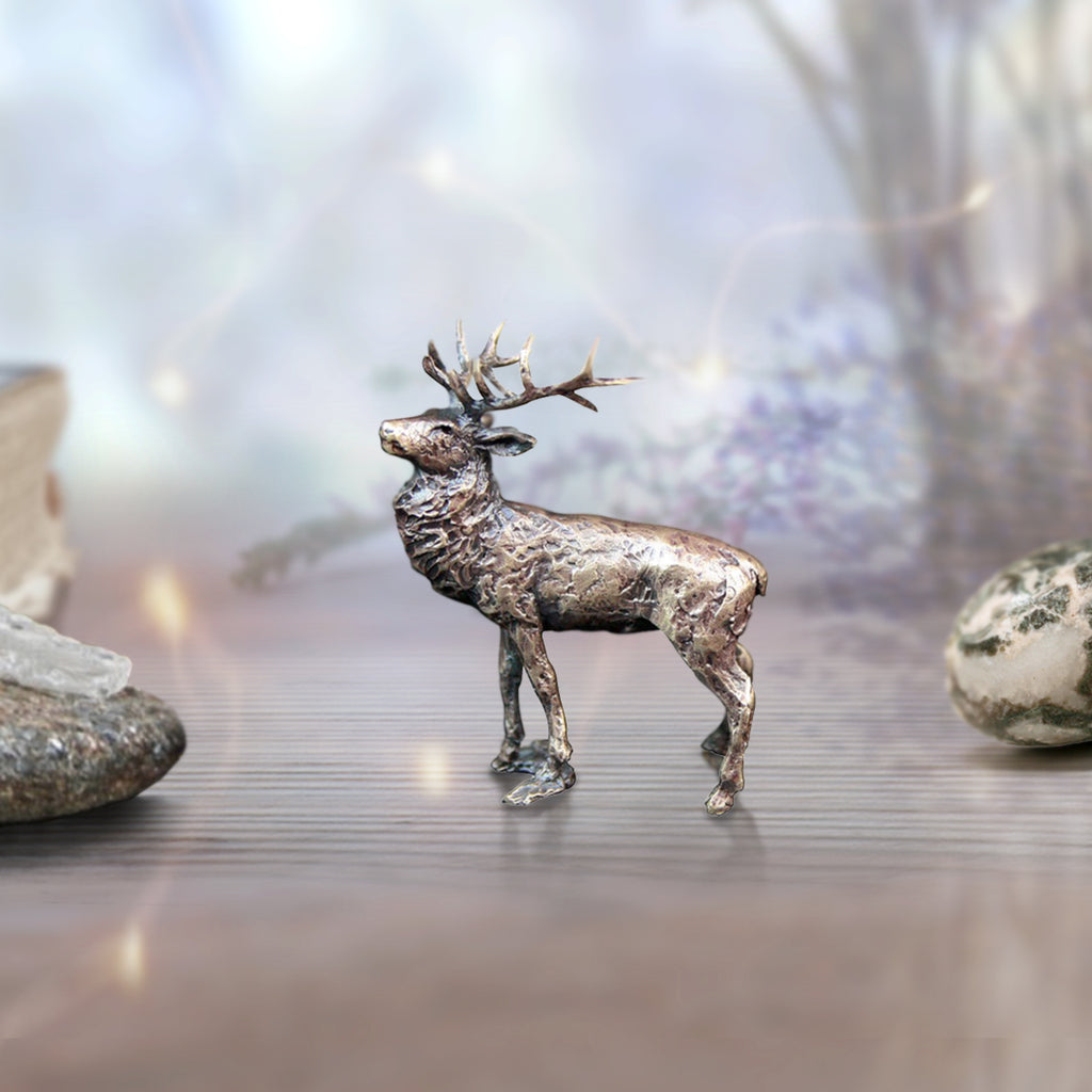 miniature bronze stag deer gift sculpture butler and peach