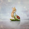 hand painted bone china mouse sitting on conker horse chestnut gift figurine