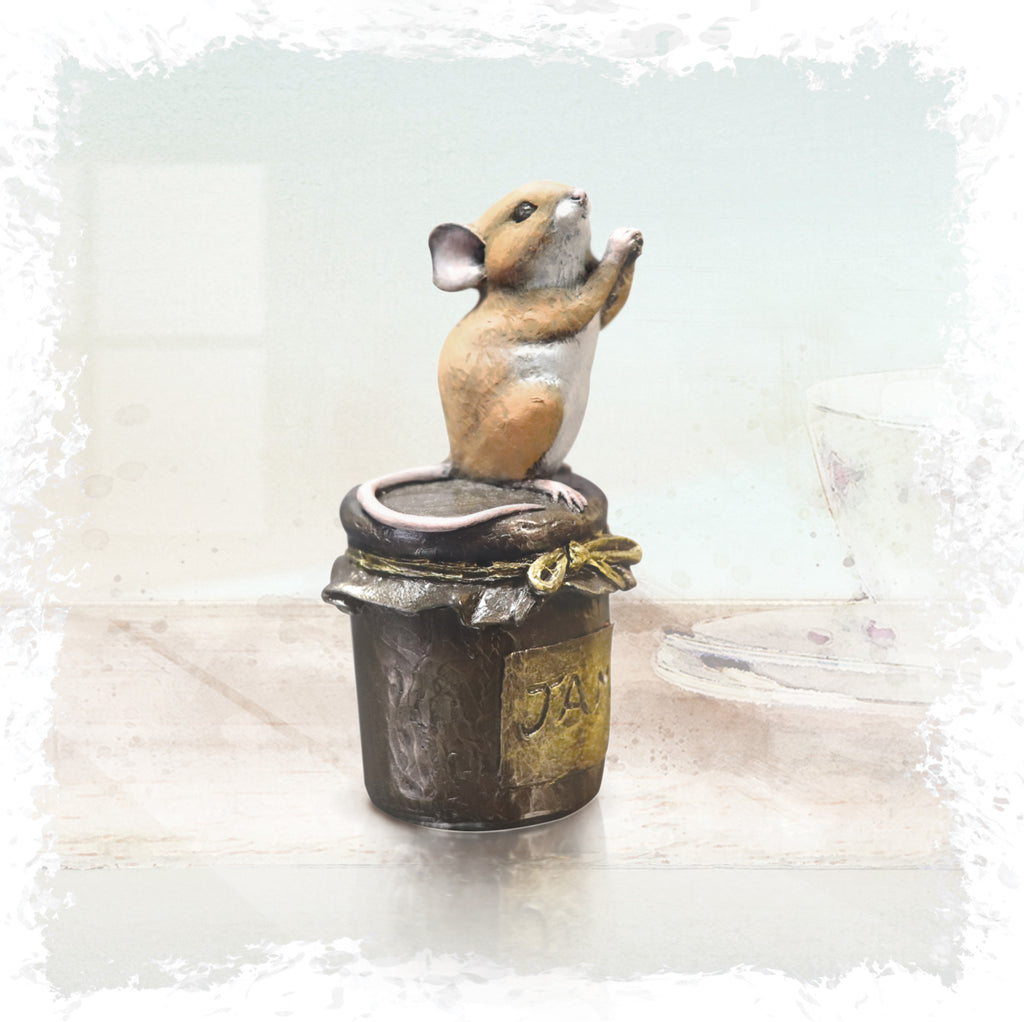 hand painted bronze mouse on jam jar begging sculpture