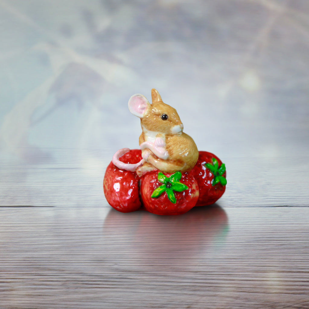 hand painted bone china mouse sitting on red strawberries gift figurine