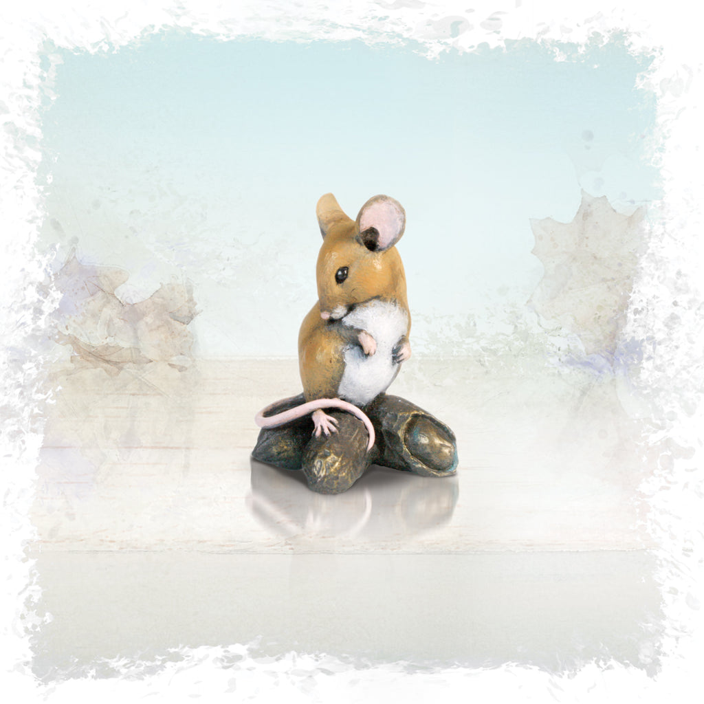 hand painted bronze mouse on monkey nuts sculpture