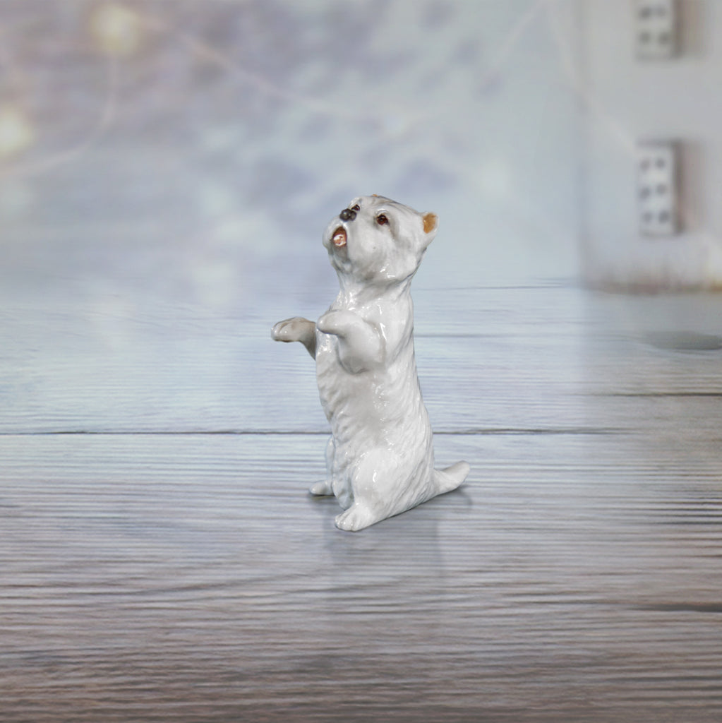 hand painted bone china westie sitting gift figurine