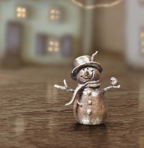 miniature bronze snowman gift sculpture butler and peach