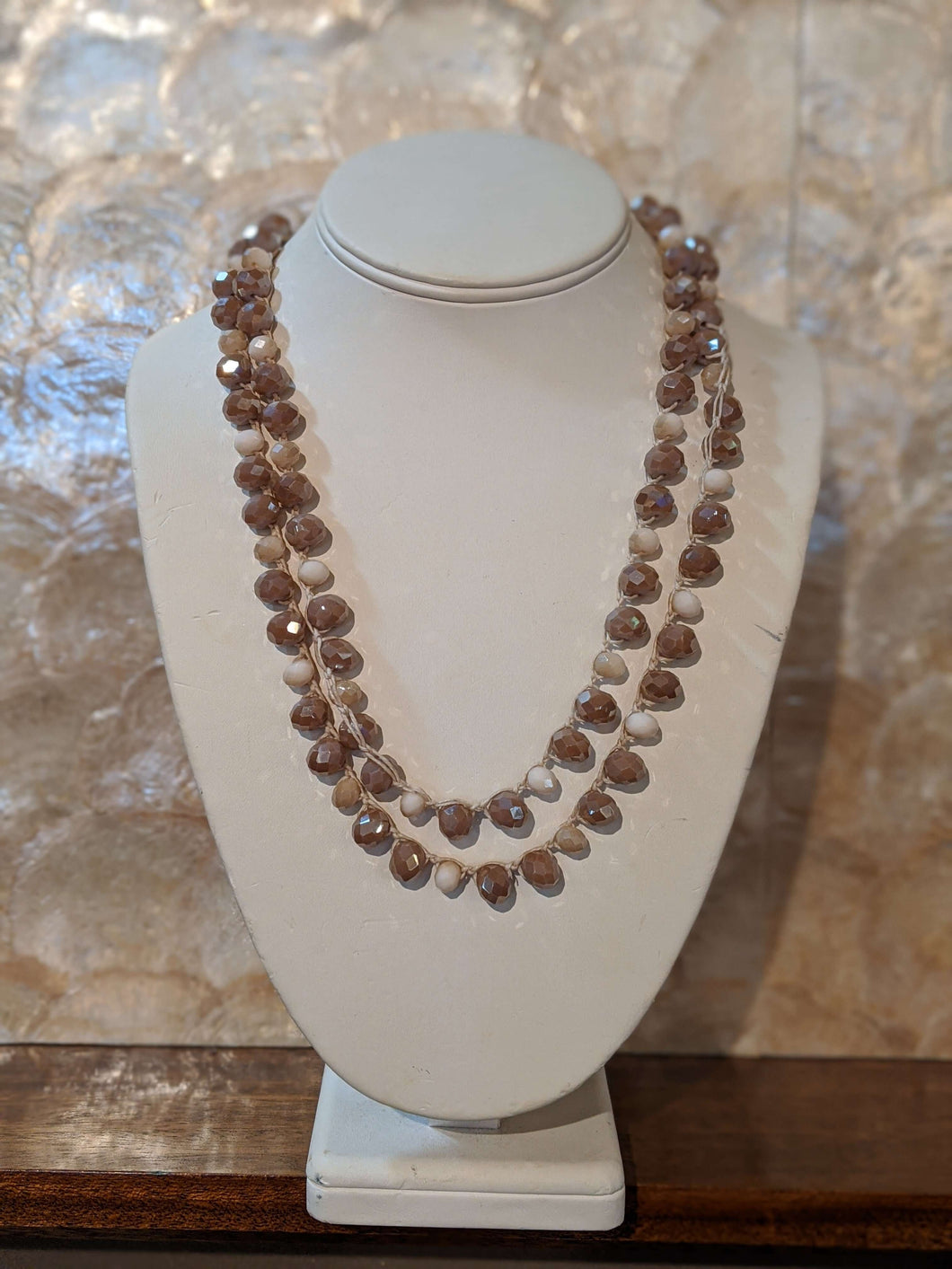 Crystal Beaded Long Strand Necklace