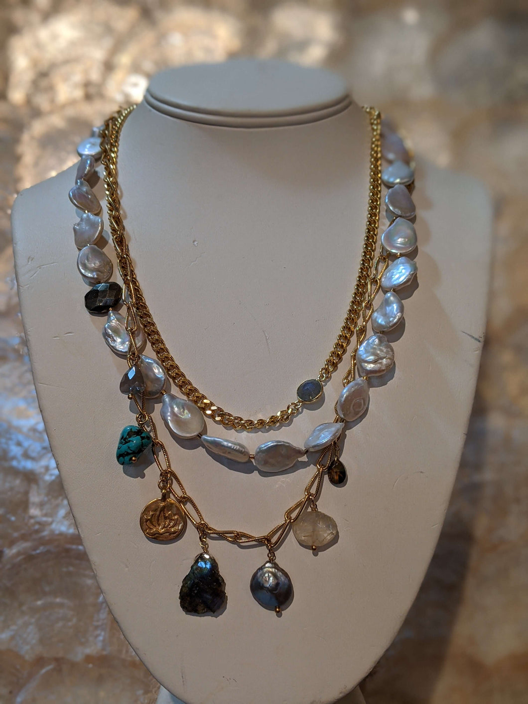 Multi Chain Pearl Charm Necklace