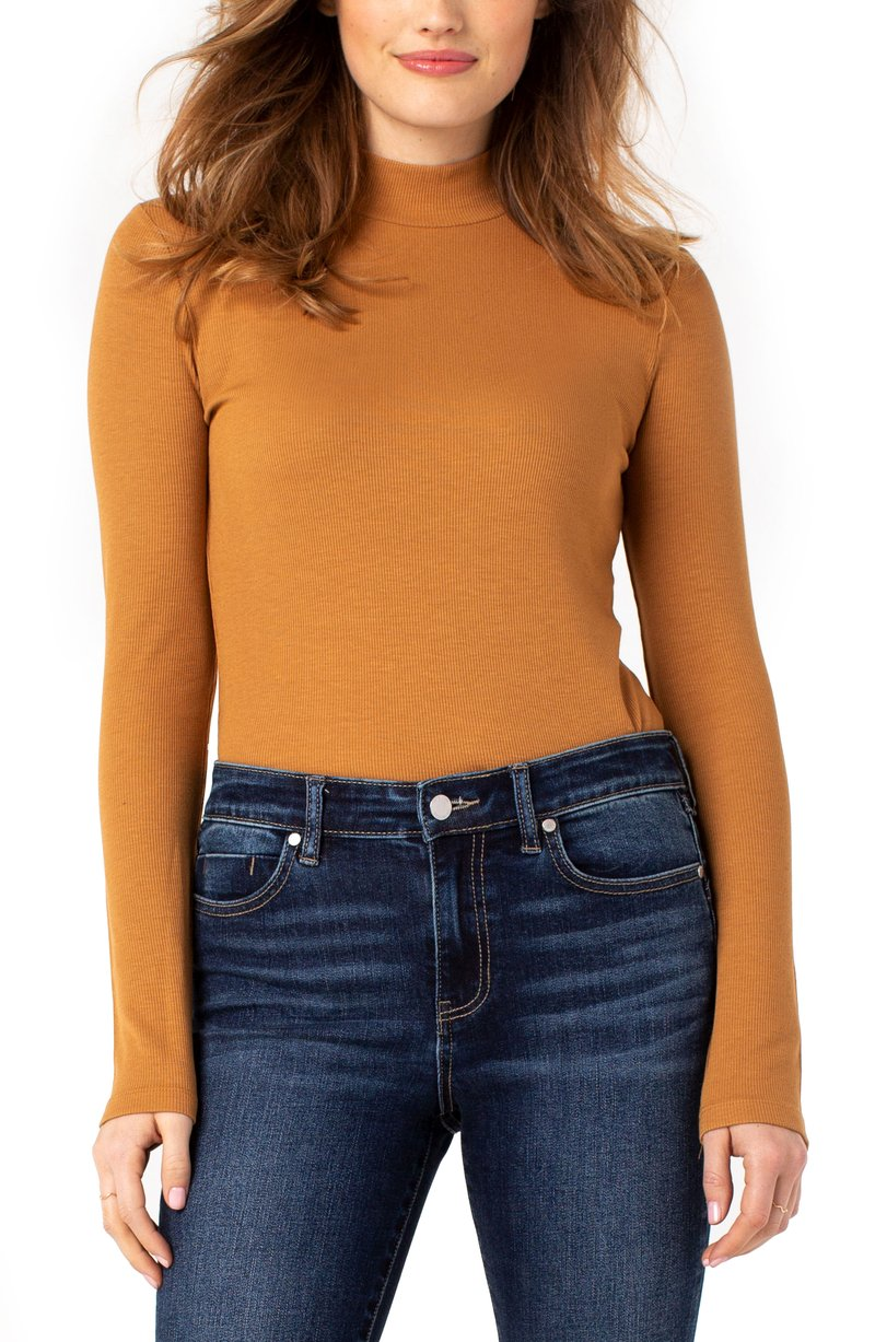 Mock Neck Long Sleeve Rib Knit Tee