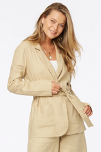 Load image into Gallery viewer, Belted Blazer Jacket  In Stretch Linen