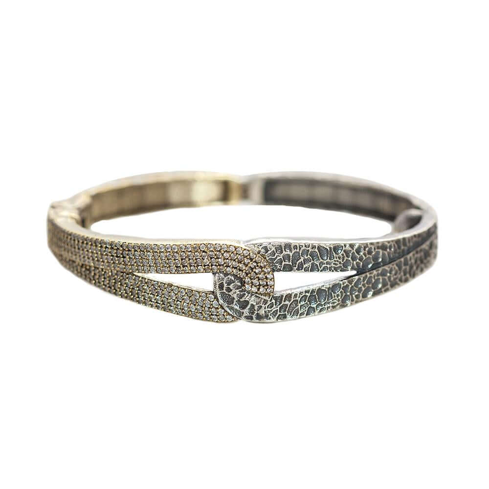Gold Rockove Crystal & Hammered Loop Bangle