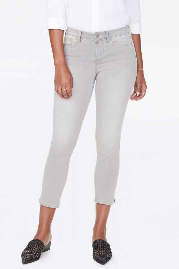 Sheri Slim Ankle Jeans With Mock Fly and Slit