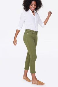 Sheri Slim Ankle Jeans With Mock Fly and Double-Button Waistband