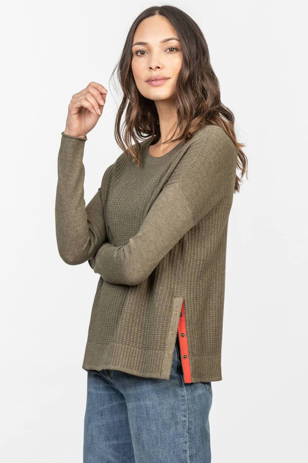 Side Snap Pullover Sweater