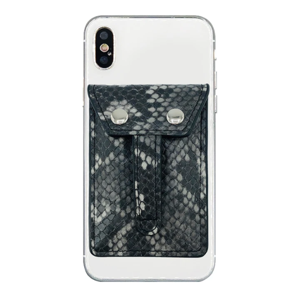 Wallet Phone Grip Grey Python