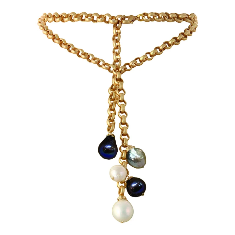 Turkish Gold & Multi Edison Pearl Waterfall Necklace