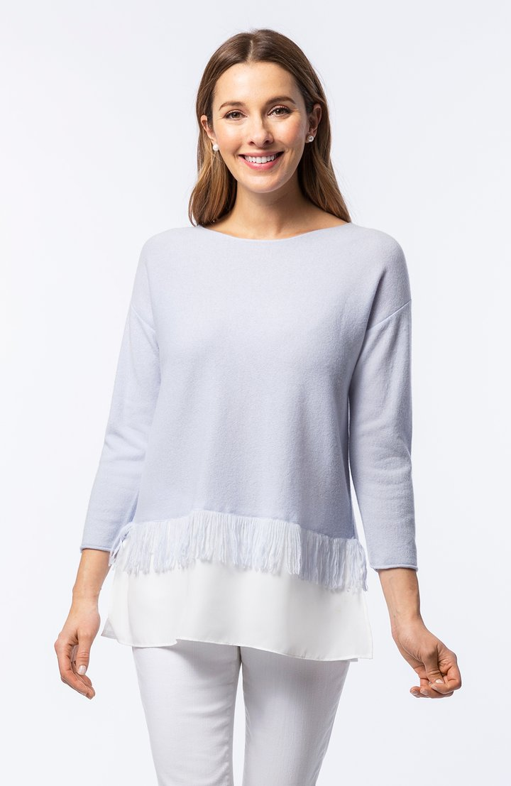 Cashmere Fringed Twofer Sweater