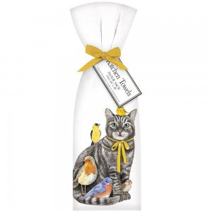 Cat And Birds Bagged Towel