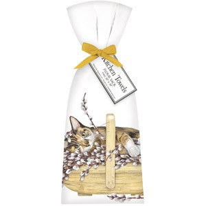 Cat Willow Basket Bagged Towel
