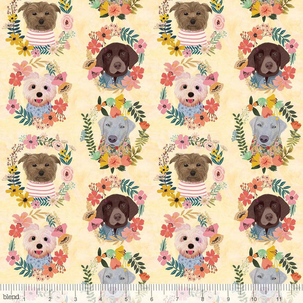 Puppy Wreaths - Cotton Print
