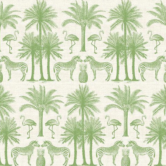Green Zebra Palms - Cotton Print