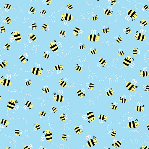 Friendship Forest Bees Blue - Cotton Print