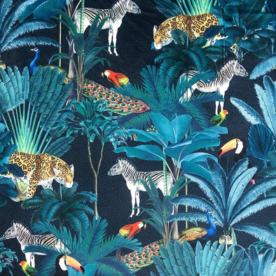 Royal Palm Midnight - Digital Print Velvet