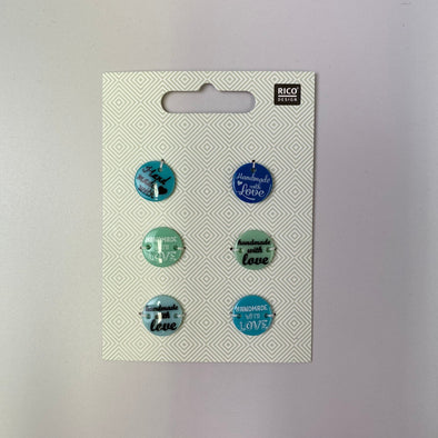 'Handmade With Love' Button Tags: Blue Mix