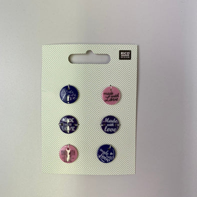 'Handmade With Love' Button Tags: Purple Mix